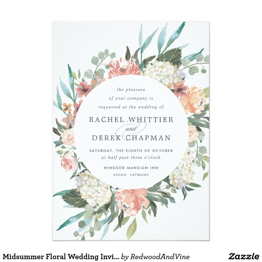 Midsummer Floral Wedding Invitation Zazzle Co Uk Floral Wedding Invitations Watercolor Wedding Invitations Watercolor Floral Wedding Invitations