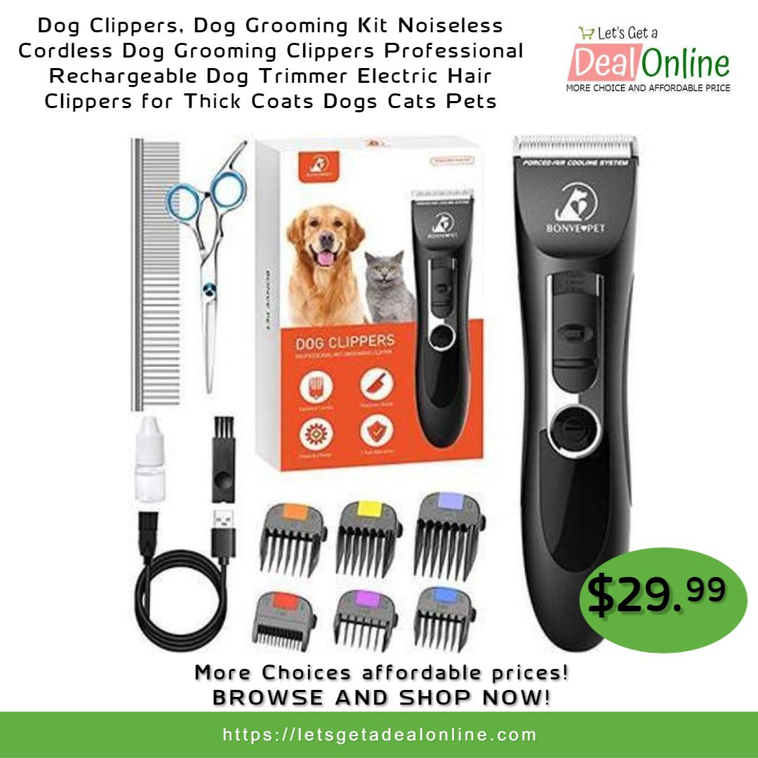Dog Clippers Grooming Kit Noiseless Trimmer Electric Hair Clippers For Thick Coats Dogs Cats Pets In 2020 Dog Grooming Dog Grooming Clippers Electric Hair Clippers