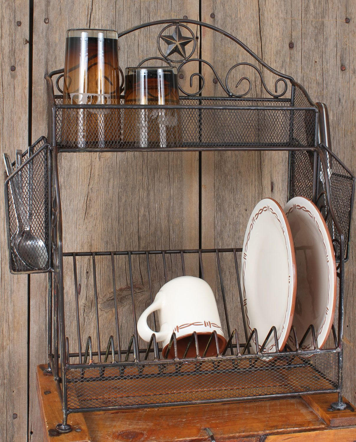 Western Rustic Decor Metal Star Dish Rack Kitchenware Decor Gifts Fort Western