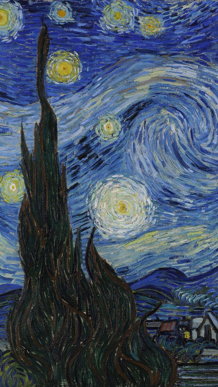 Van Gogh Starry Night Iphone Wallpaper Van Gogh S Painting In Iphone Wallpaper It S Van Gogh In