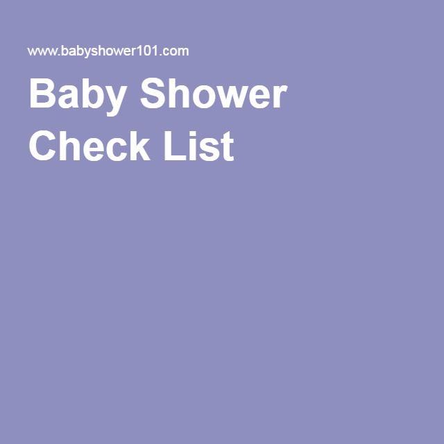 Baby Shower Check List