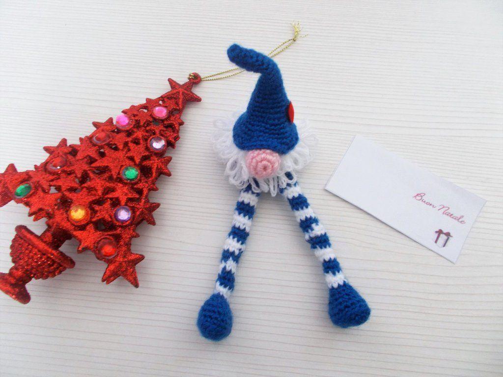 Segnaposto Natalizi Uncinetto.Segnaposto Decorazione Natale Gnomo Gambe Lunghe Amigurumi Natale
