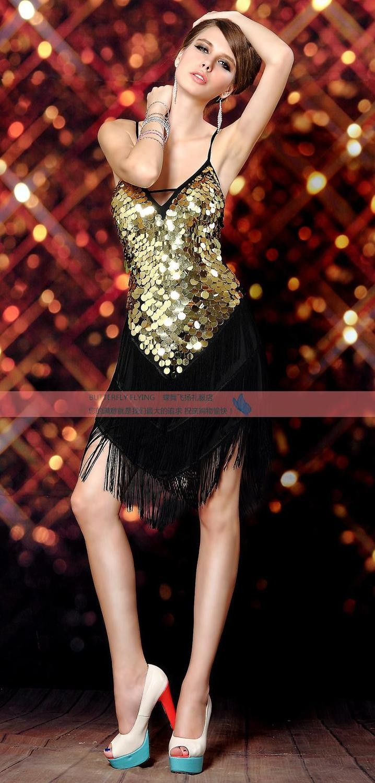 6e630b62 Sexy Deep V-neck Sequins Tassel Latin Dance Skirt Adult Performance Wear  4colors Dance Dress Free Shipping Salsa Dance Wear