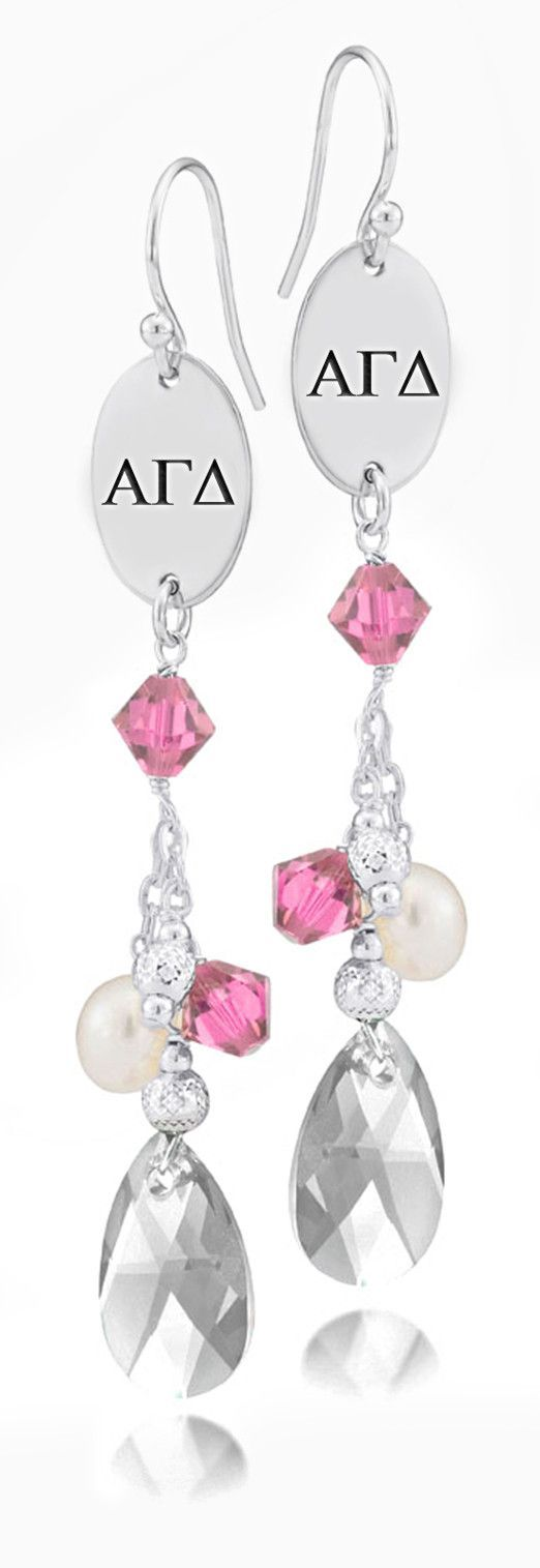 Alpha gamma delta greek letters pink crystal and freshwater pearl alpha gamma delta greek letters pink crystal and freshwater pearl earrings buycottarizona Gallery