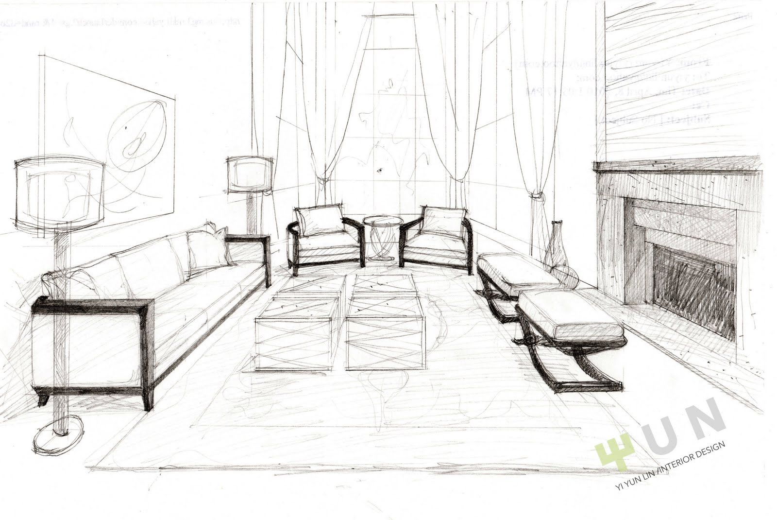 Living room drawing design - Yi S Fantasia Sweet Water Project Interior Design Living Room Sketch