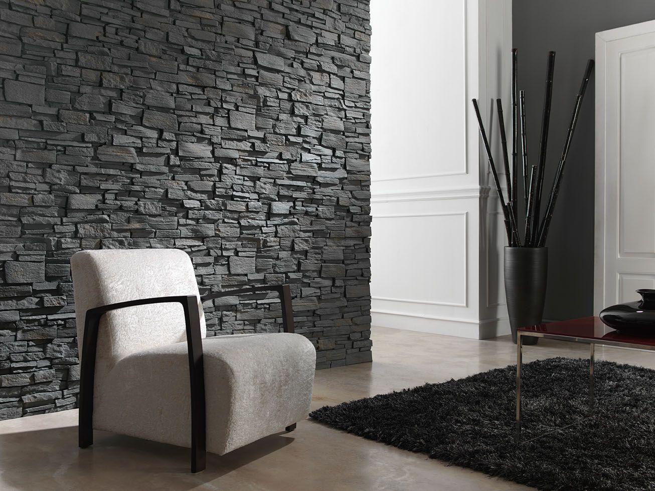 Muro piedra living deco muro piedras pinterest for Piedra para muros interiores