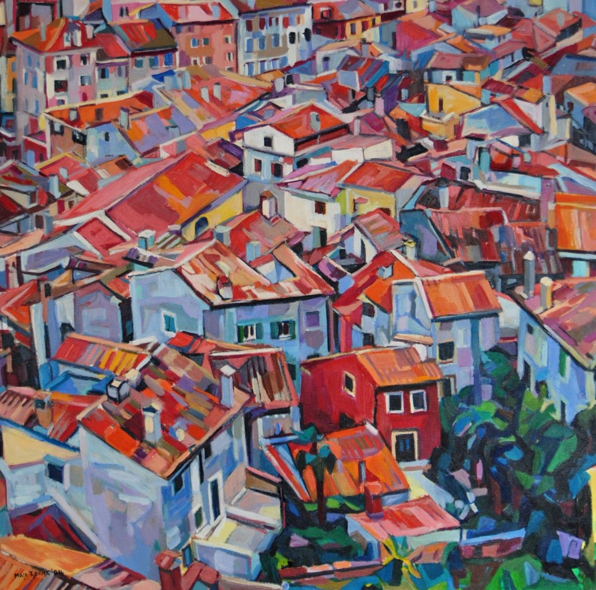 Large city with colorful streets and red roofs. Bird's-eye view.  This is a unique, one of a kind original oil painting. It is signed on the front and comes with a Certificate of Authenticity.  ...