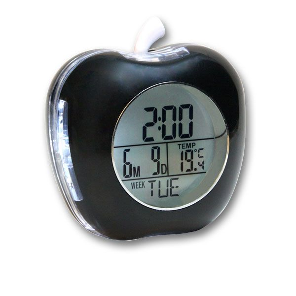 Apple Shaped Talking Alarm Clock With Temperature And Calendar Bla Alarm Clock Talking Alarm Clock Clock