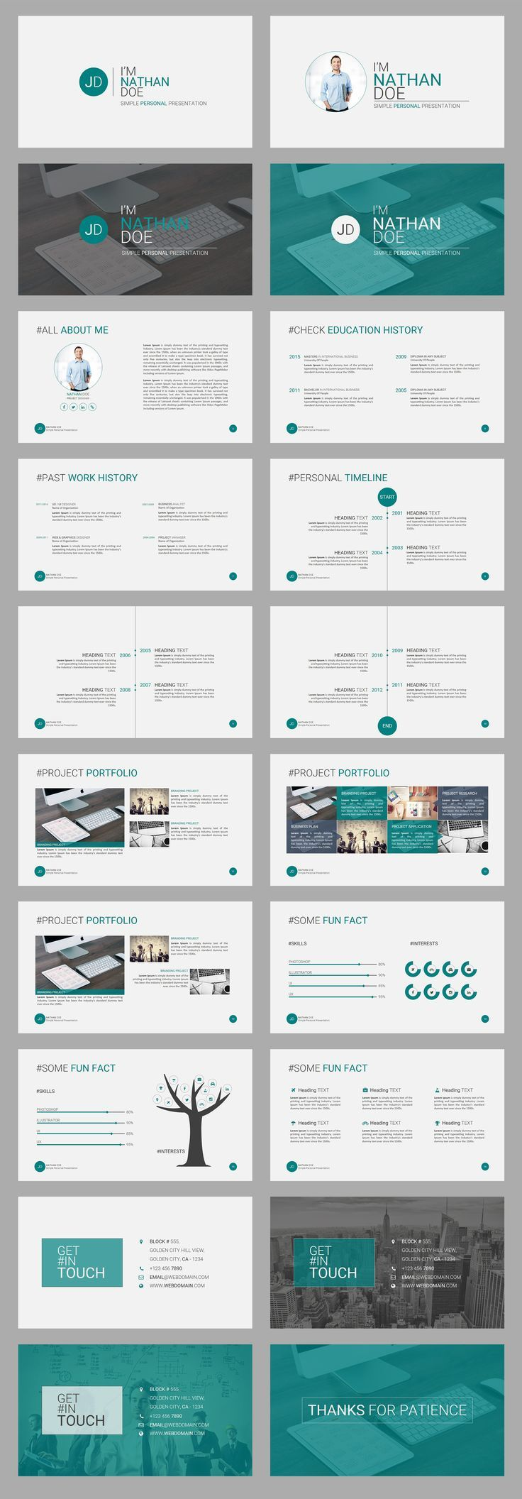 Jd Personal Cv Resume Powerpoint Presentation Template Is A Simple But Am Powerpoint Presentation Design Presentation Template Free Ppt Template Design