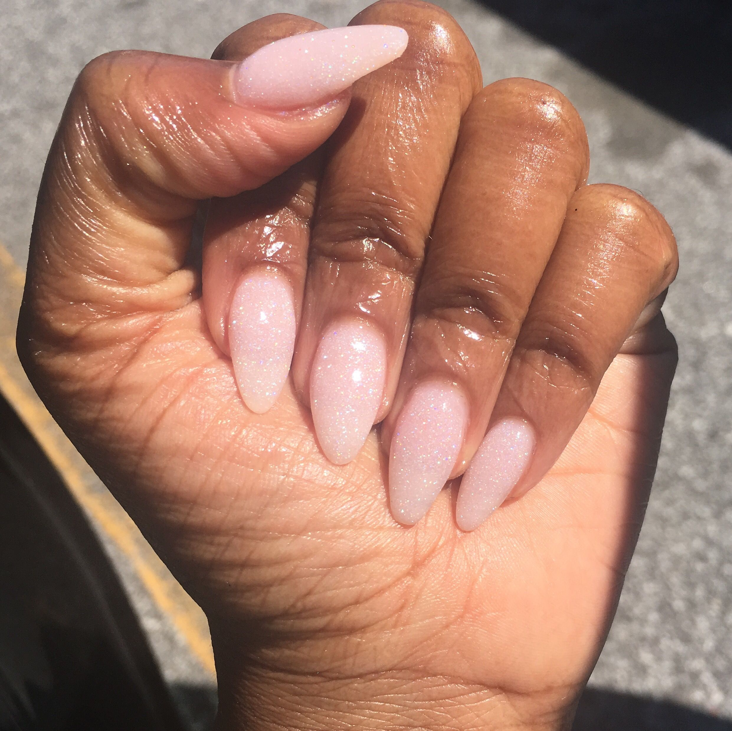 No Tips Just Natural Nail Length Between Almond And Stiletto Shape