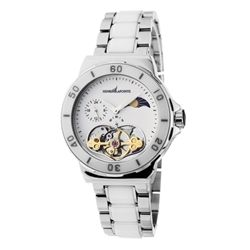 Henri LaPointe ladies mid-size automatic watch with white dial and white ceramic, stainless steel combo for a great look. Heart shaped exhibition caseback reveal the inner workings and three link bracelet all add a feminine touch to this classic time piece. Our Price: $319.00