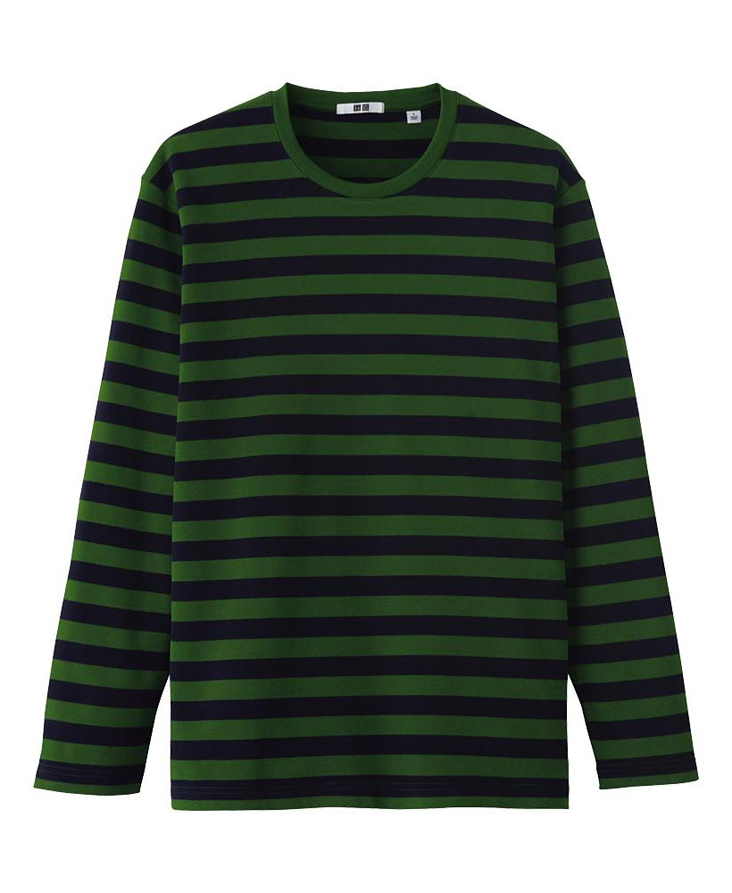 MEN SOFT TOUCH STRIPED CREW NECK LONG SLEEVE T-SHIRT
