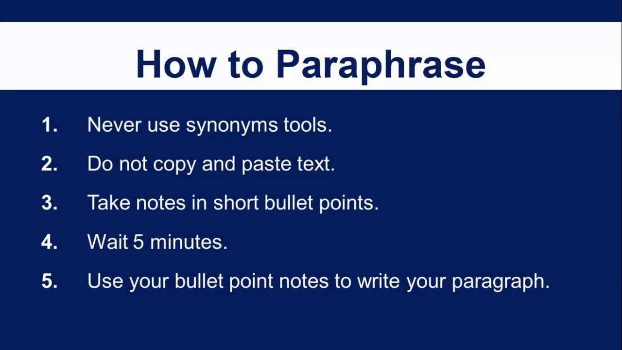 5 Simple Step On How To Paraphrase Video Tutorial Signal Begining Of