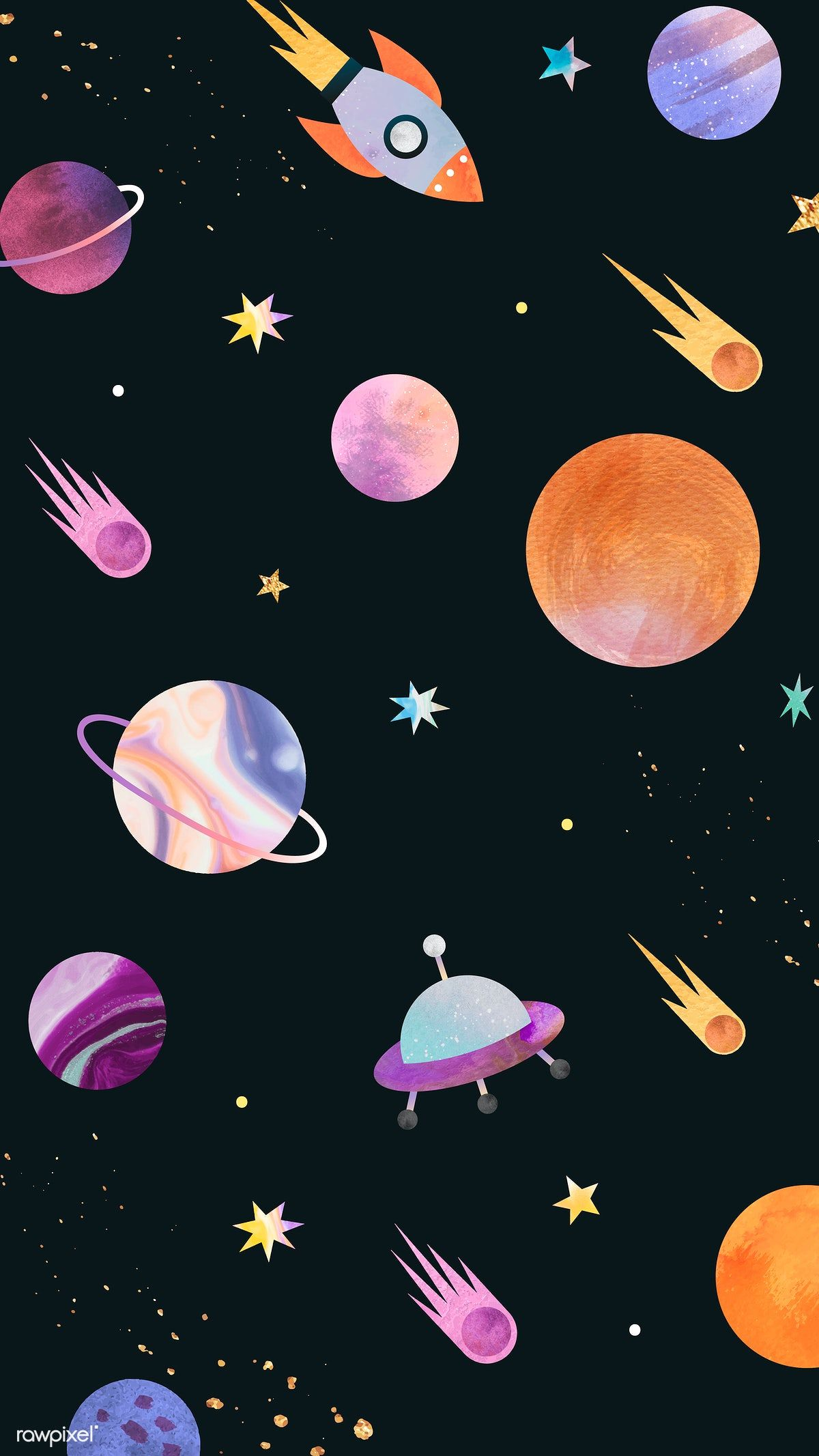 Download Premium Vector Of Colorful Galaxy Watercolor Doodle On Black Watercolor Galaxy Galaxy Art Galaxy Painting