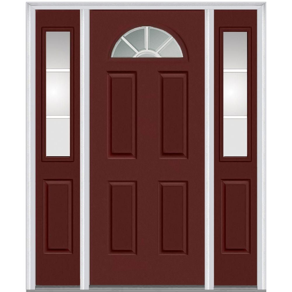 Mmi Door 64 5 In X 81 75 In Internal Grilles Right Hand Inswing 1 4 Lite Clear Painted Steel Prehung Front Door With Sidelites Z005346r Entry Doors Doors Prehung Doors