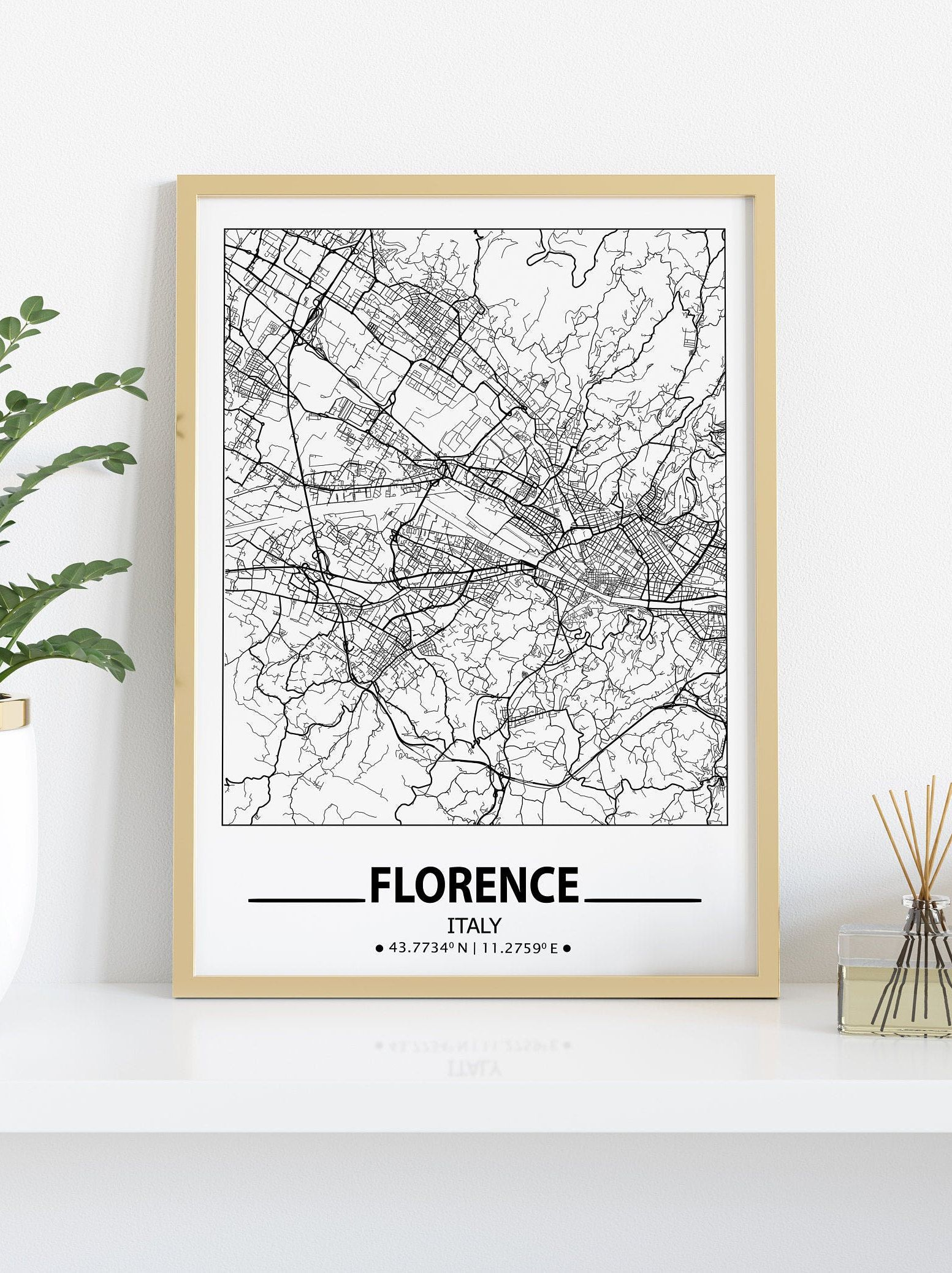 Florence City Map Print Florence Wall Art Prints Travel Maps Etsy Map Wall Art Florence Wall Art Poster Wall Art