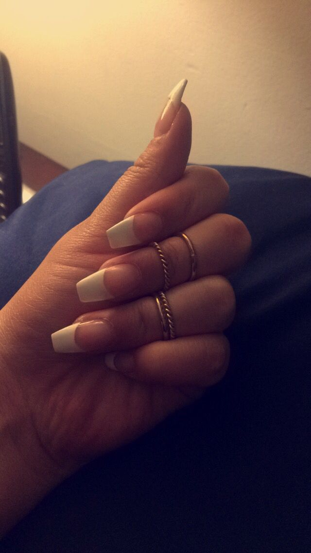 French tip coffin shaped nails | Projects to Try | Pinterest