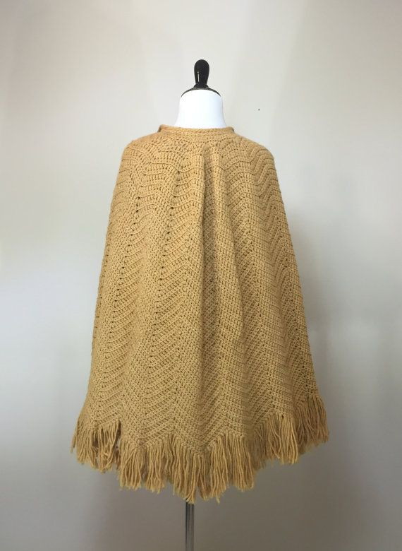Vintage Fringed Poncho Boho Chic Button Up by BirchEdenVintage