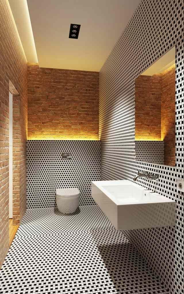 bad ohne fenster schwarz weiße mosaik backsteinwand indirekte, Gestaltungsideen