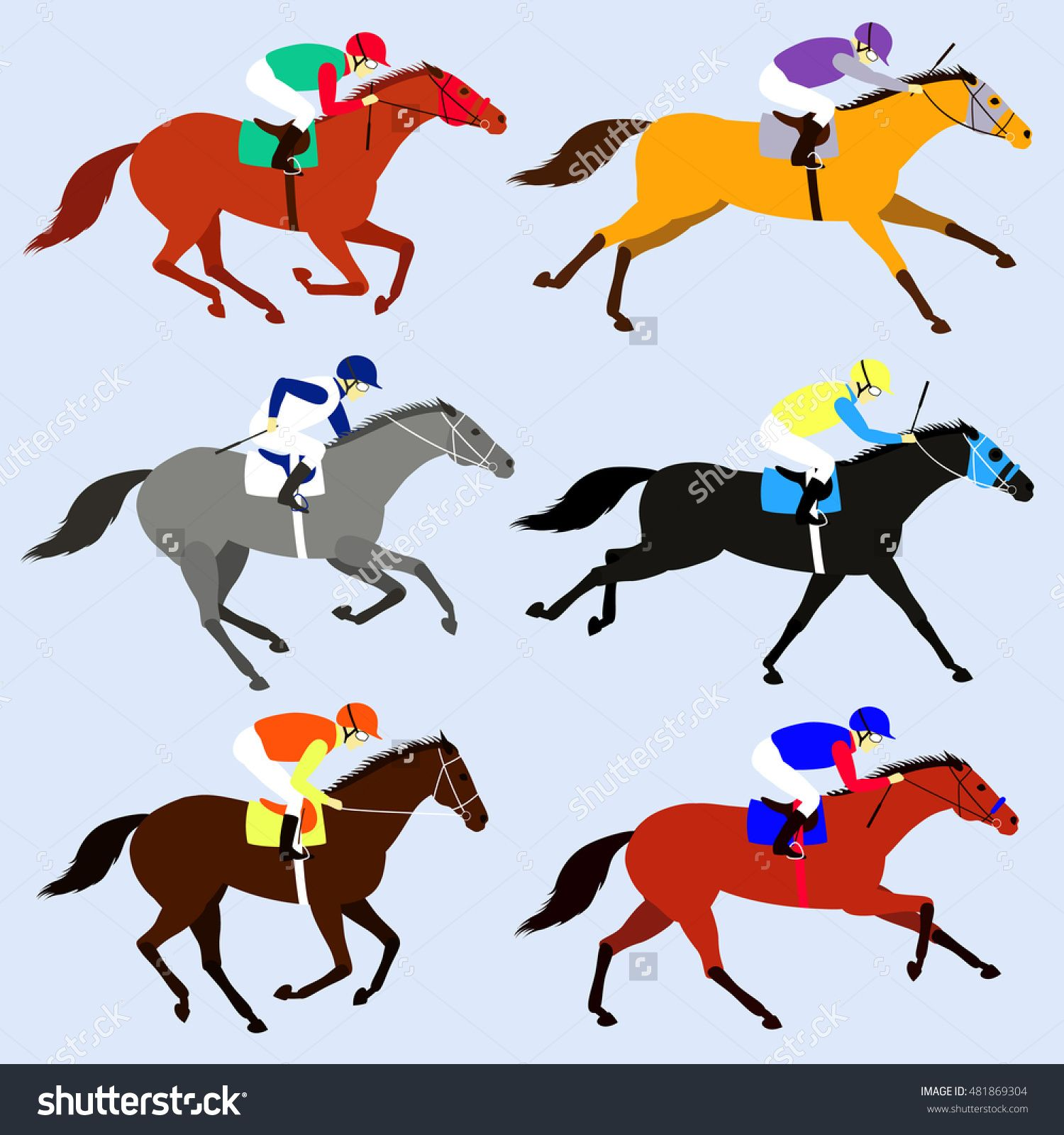 Race Horses With Jockeys Set Flat Design Vector Illustration 6