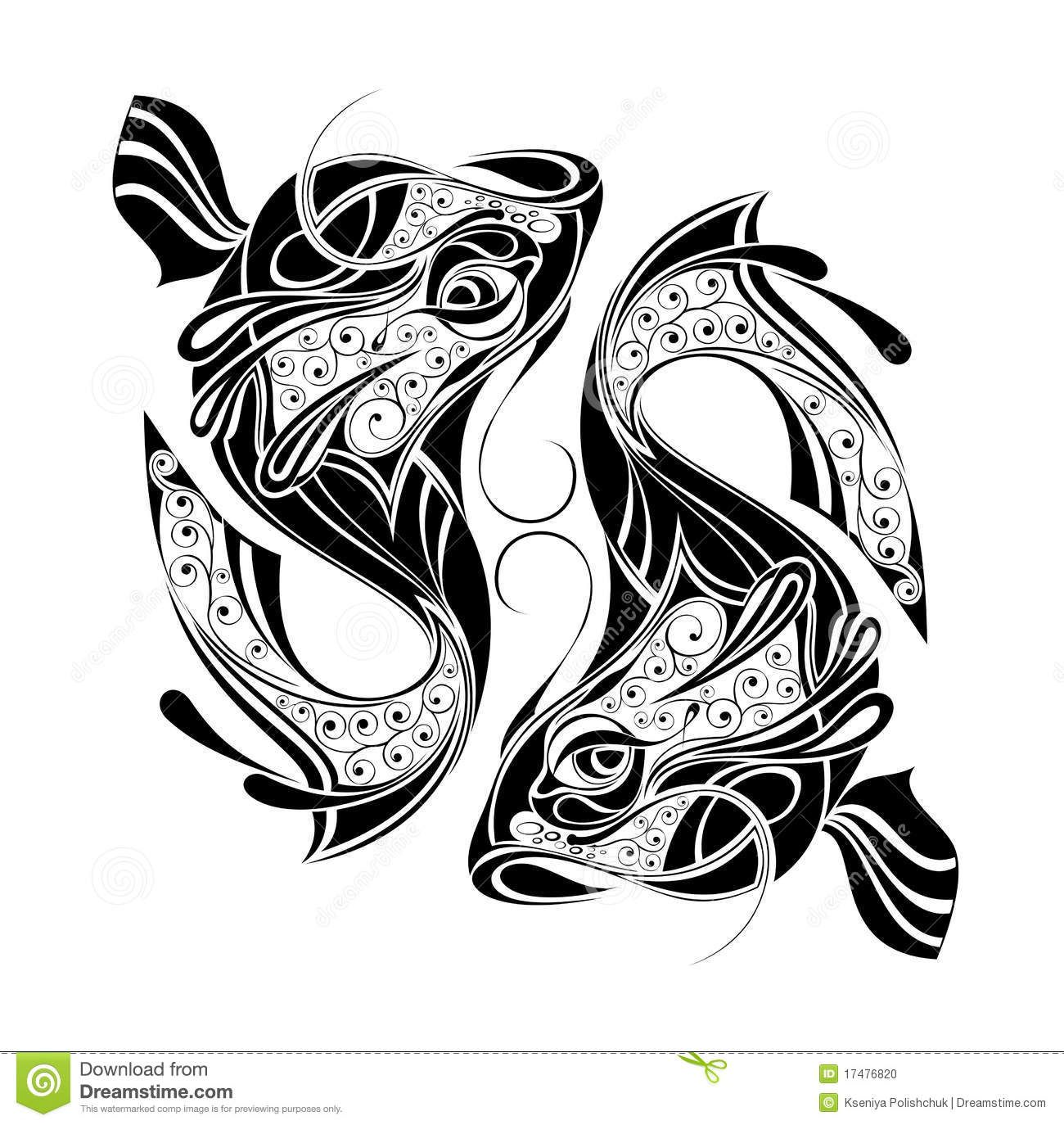 Zodiac wheel with sign of pisces tattoo design stock photo image pisces pinterest - Tatouage tribal signification ...