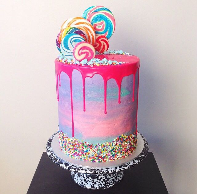 Bright colourful fun double triple barrel cakes Pinterest