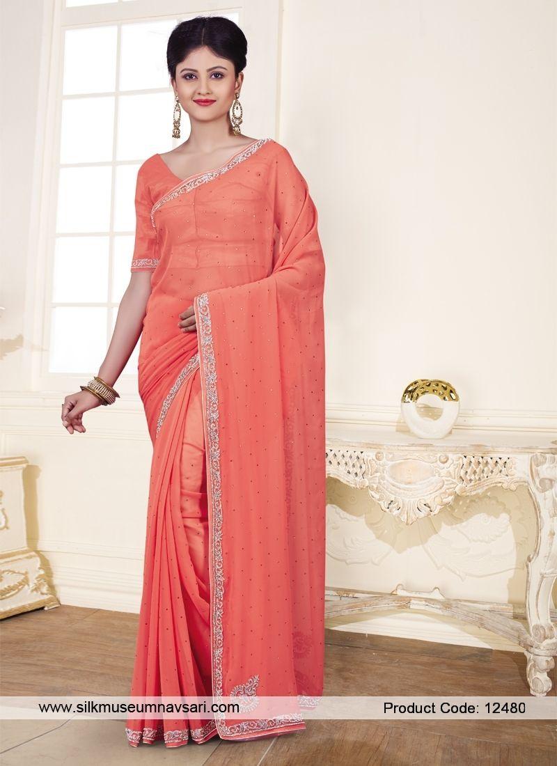 Dark Peach Colour Festival Designer Saree With Images Saree