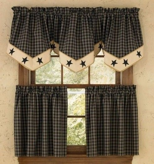 "country kitchen curtains | sturbridge star black plaid 24"" tier"