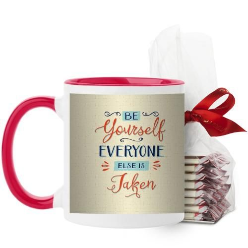 Be Yourself Mug, Red, with Ghirardelli Peppermint Bark, 11 oz, Beige