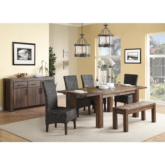 Meadow Rectangular Dining Table In Distressed Brick Brown
