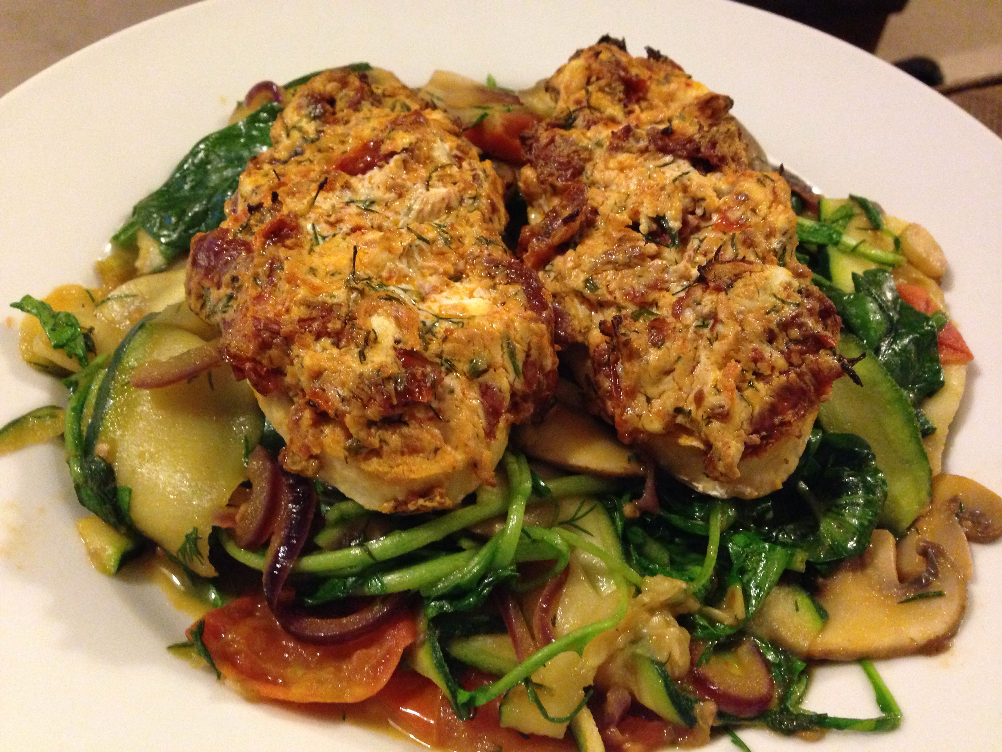 Quorn chicken fillets with courgette tagliatelle  Tasty, low fat and low carb