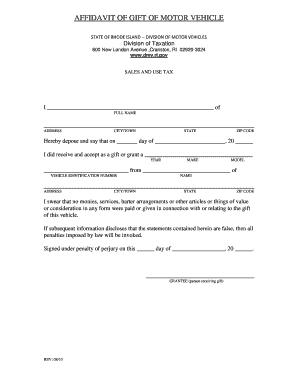 Bill Of Sale Form Rhode Island Affidavit Of Gift Of Motor Vehicle Form Templates Fillable Printable Samp Letter Template Word Letter Gifts Letter Templates