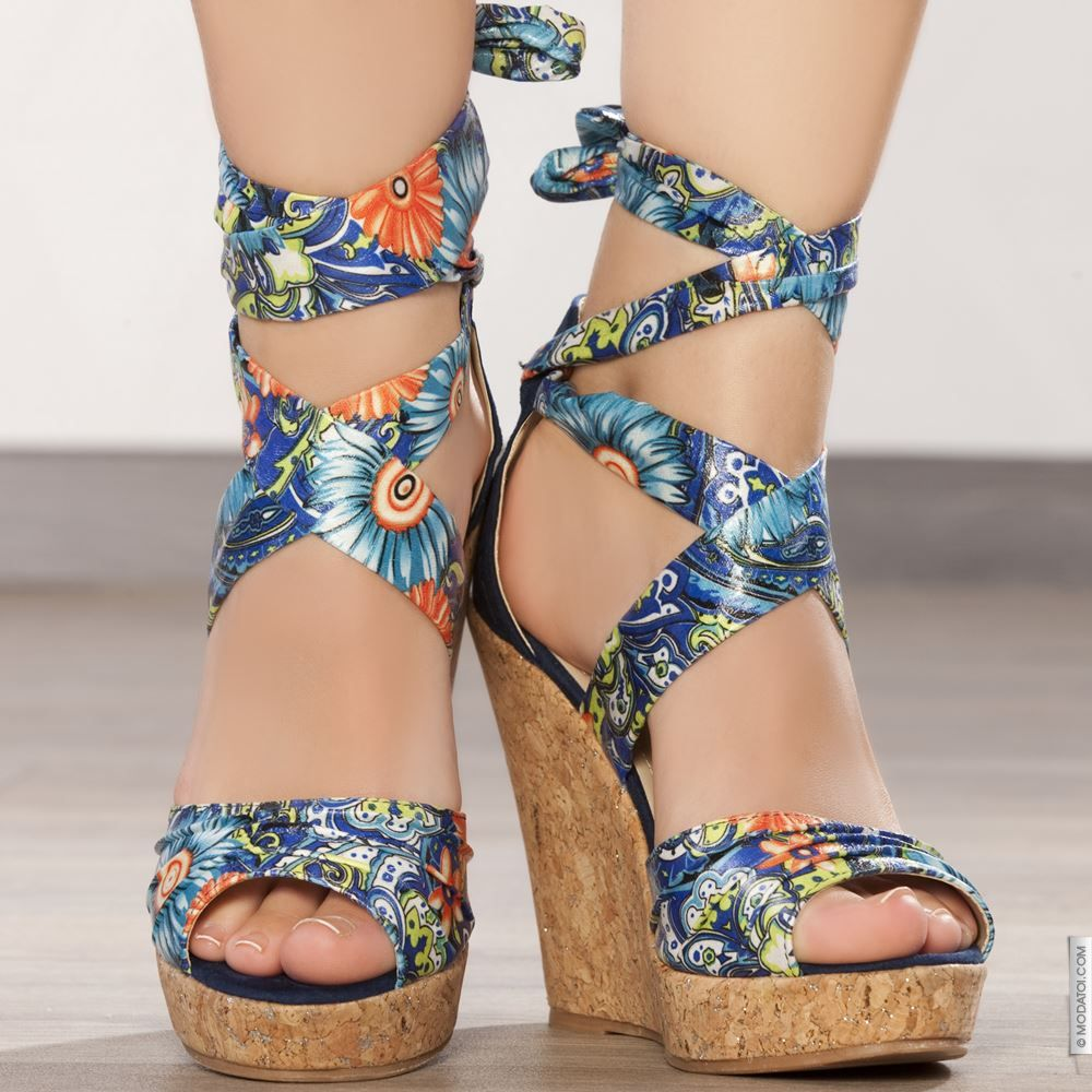 Sandales compensées bleu taille 38, achat en ligne Sandales femme sur  MODATOI