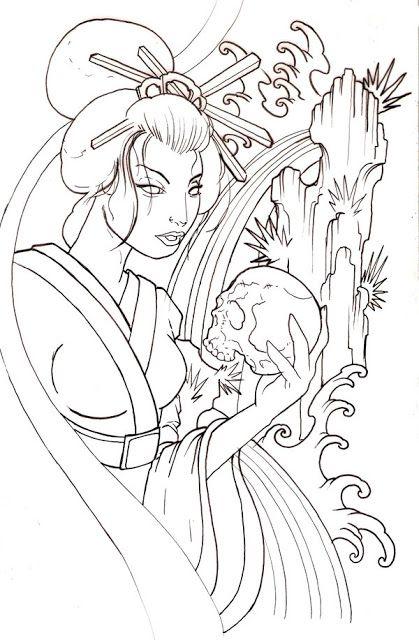 Gueixa Tattoo Coisas Para Desenhar Artwork Japones E Desenho De