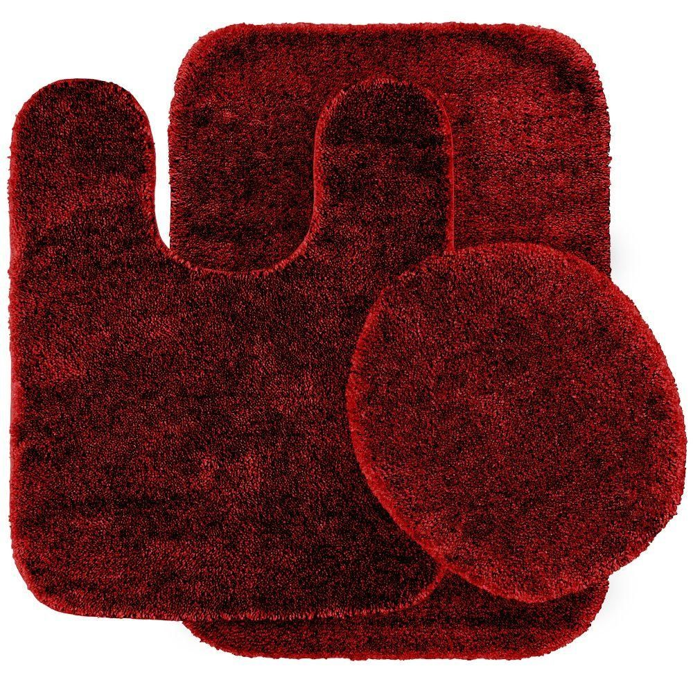 Bon Red And Black Bathroom Rug Set