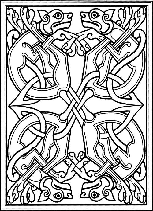 Celtic dogs based on medieval monks illustrations in the book of kells and other manuscripts