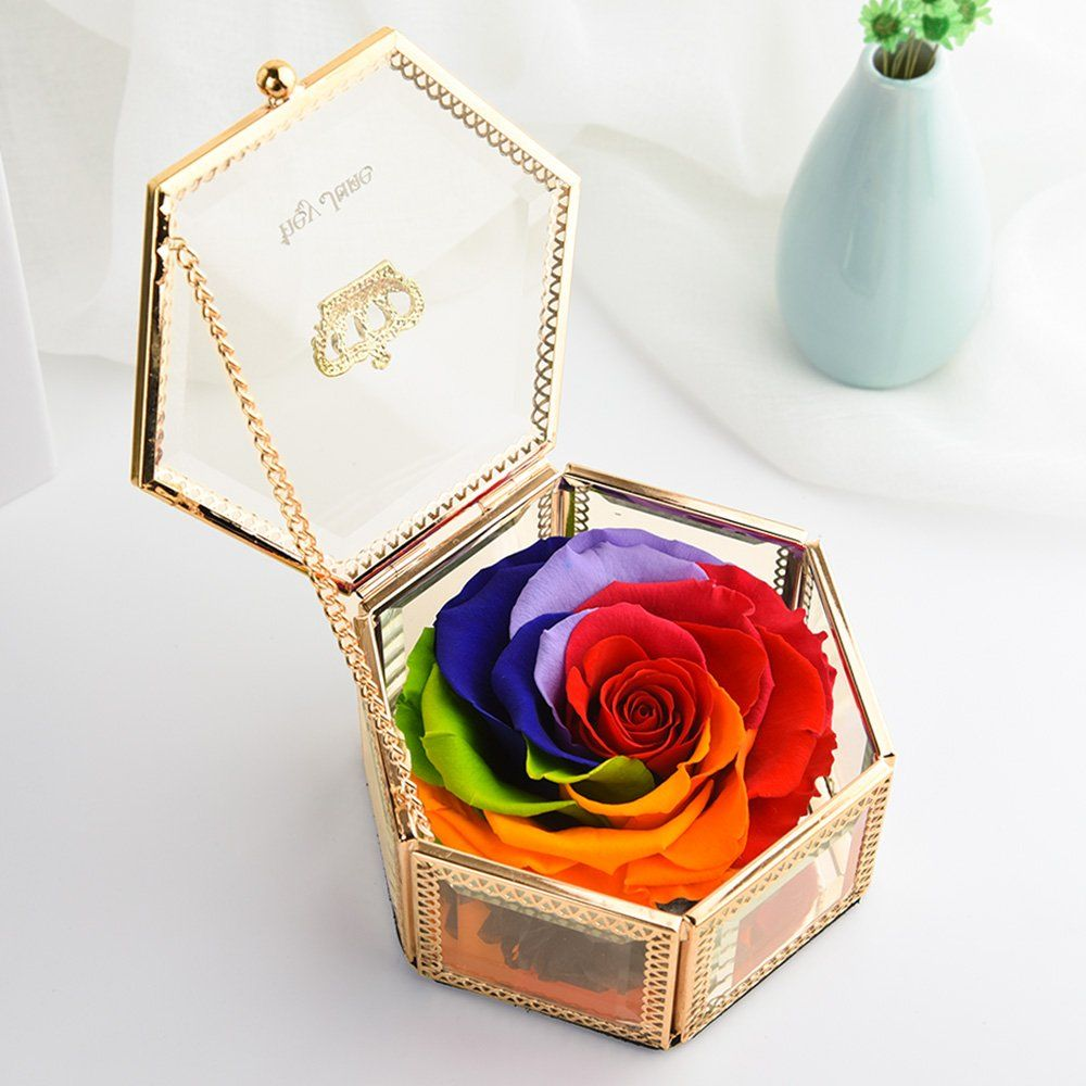 PreservedFreshFlower Rose, Fine Jewelry Box, Anniversary Gifts, Mom Gifts, Best Gift for Her on Valentine's Day, Mother's Day, Birthday, Anniversary, Wedding (Hexagonal Rainbow)