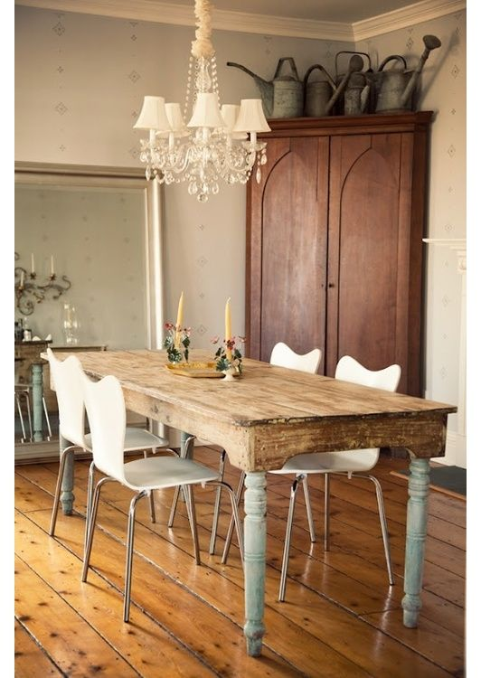 Good Dining Room Design Idea   Love The Corner Cabinet Storage Space. Maybe  Painted Tho. And The Tin Watering Cans As Decor.