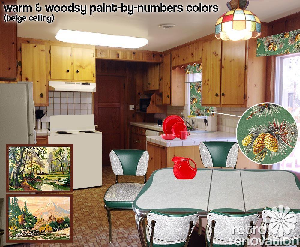 Retro Design Dilemma Choosing Colors For Michaela S Knotty Pine Kitchen Knotty Pine Kitchen Knotty Pine Cabinets Pine Kitchen