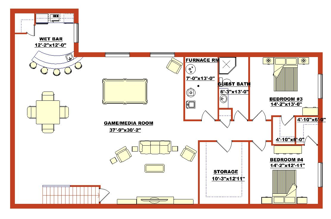 High quality finished basement plans 5 finished walk out for A frame house plans with basement