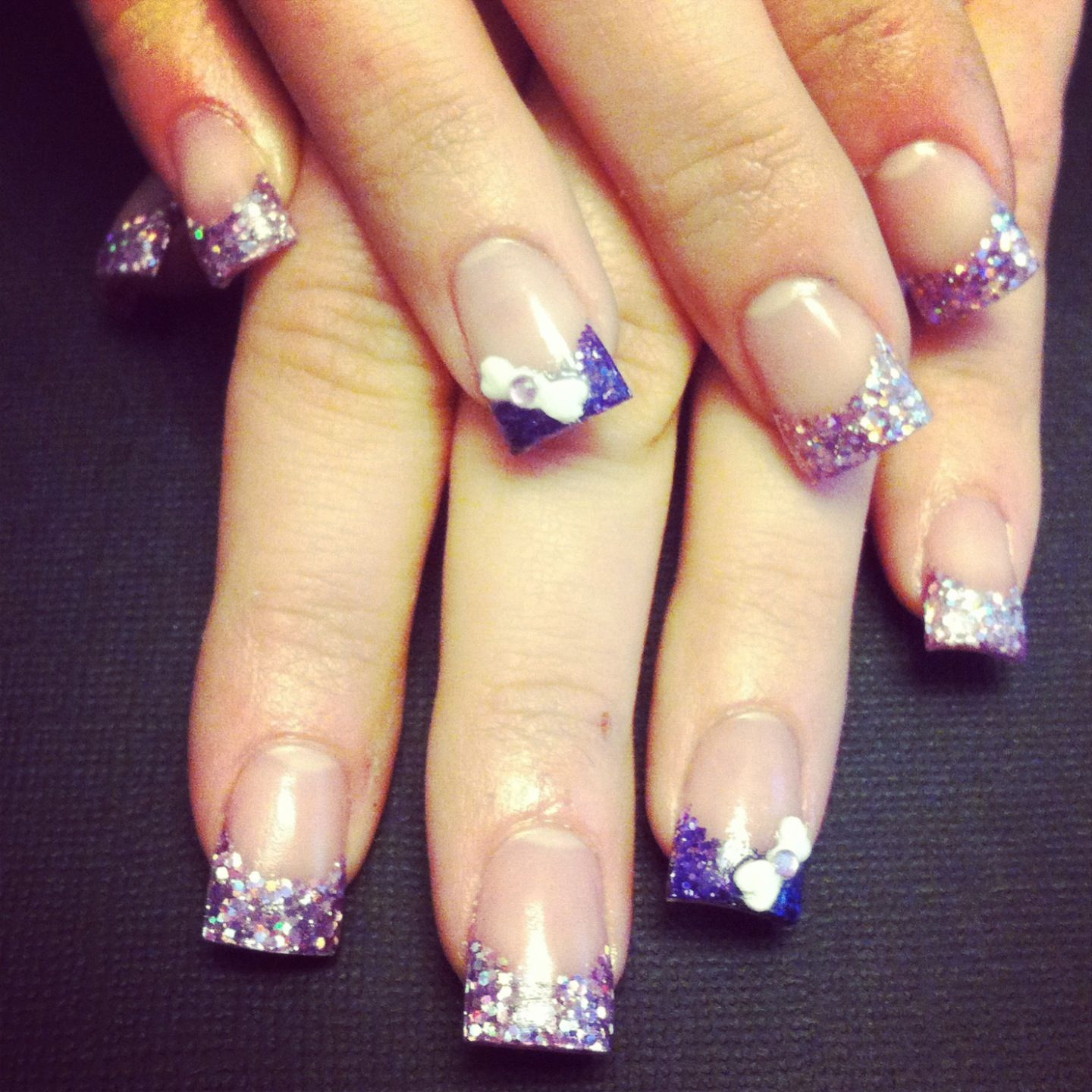 Purple acrylic nails with d bow nails pinterest purple