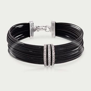 "ALOR Noir .35 Carat Total Weight Diamond Multi-Row Bracelet in Black Stainless Steel and 18-Karat White Gold. 7"""