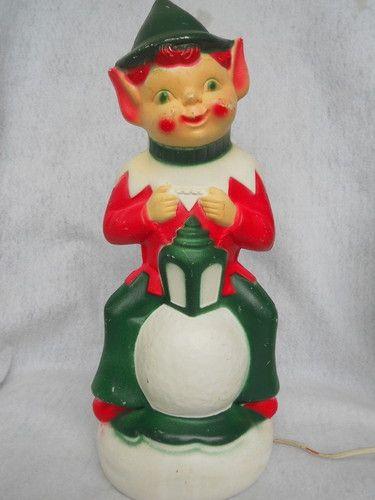 Vintage Christmas Plastic Blow Mold Light Elf eBay Christmas