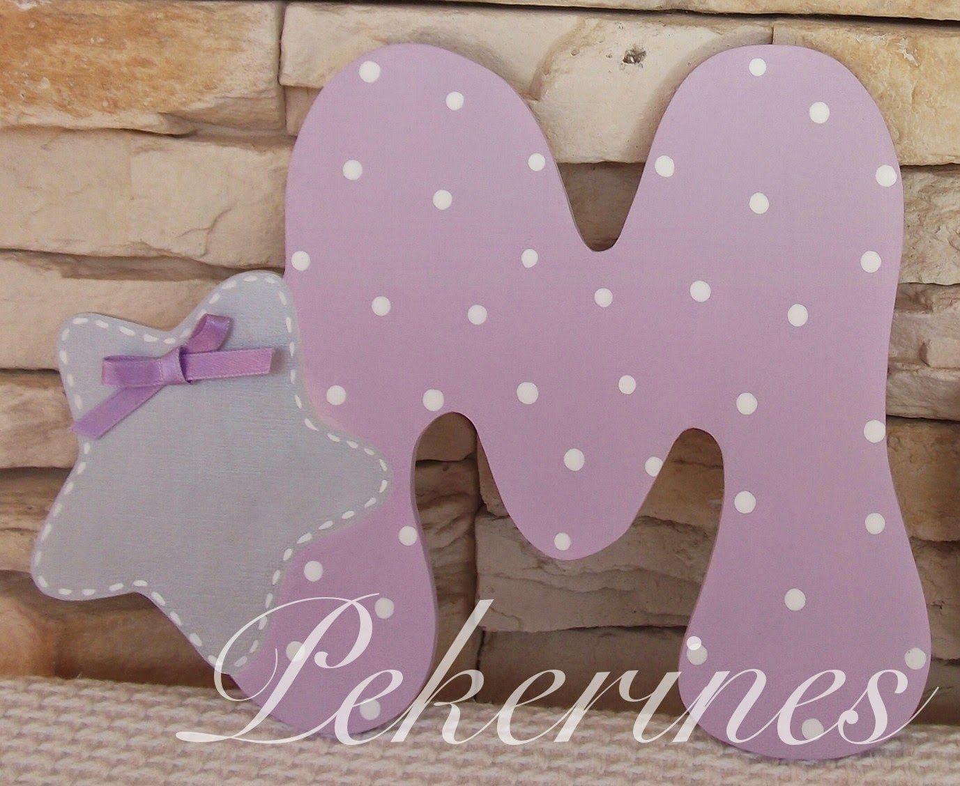Decoraci n infantil pekerines letras iniciales de madera decoradas - Letras decoradas infantiles ...