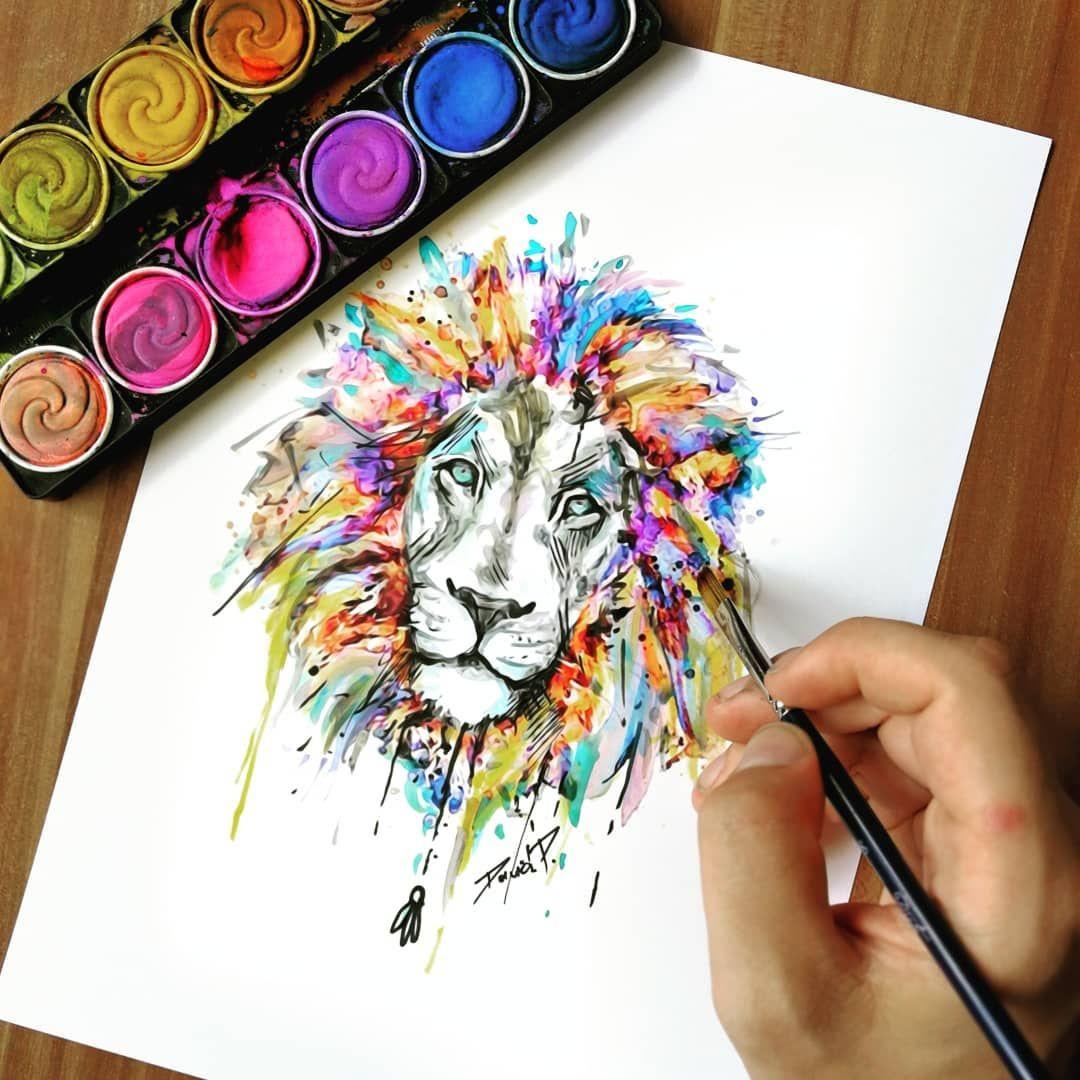 Mal Ein Lowe Art Lion Sketch Aquarelle Instadaily