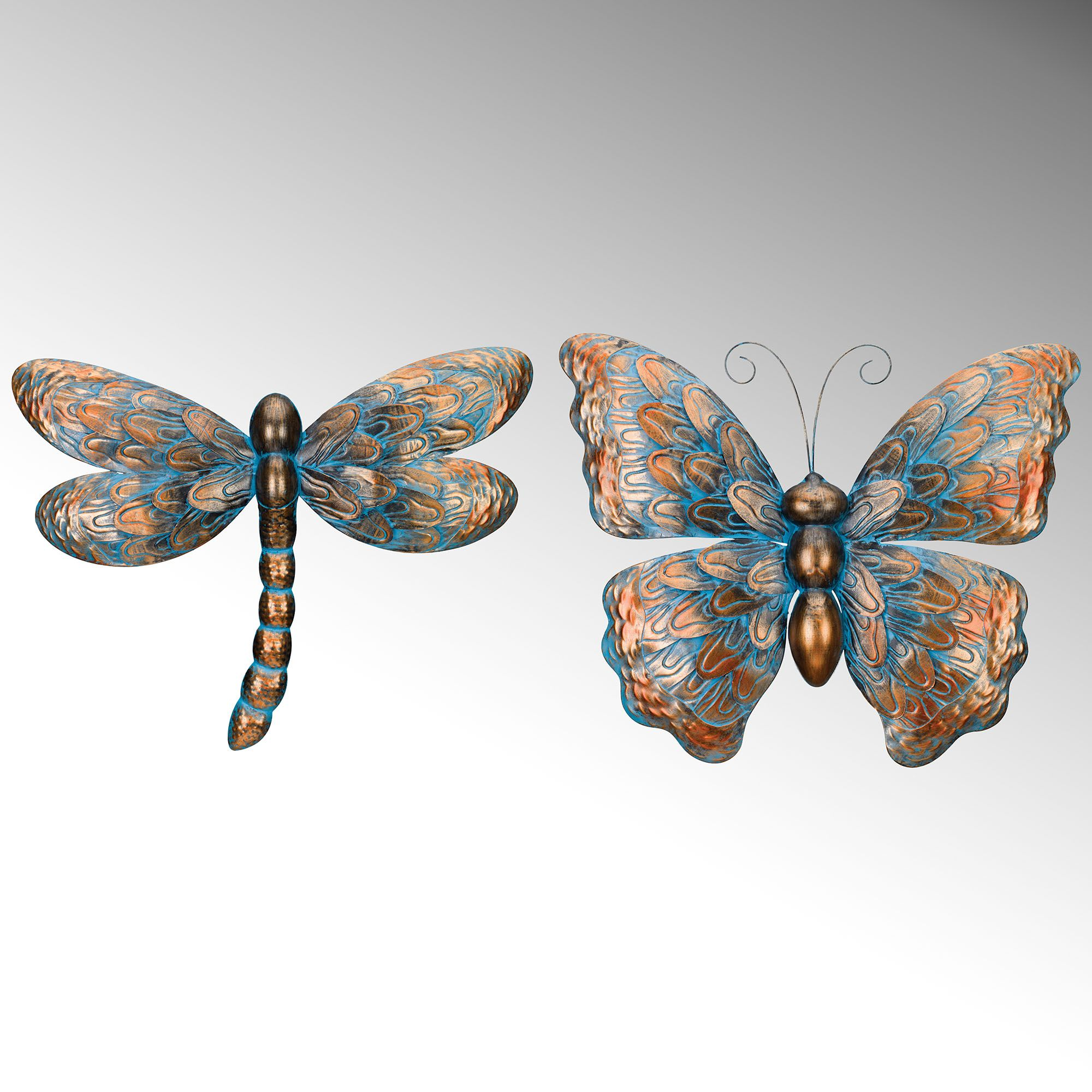 Summer beauties dragonfly and butterfly metal wall art set in