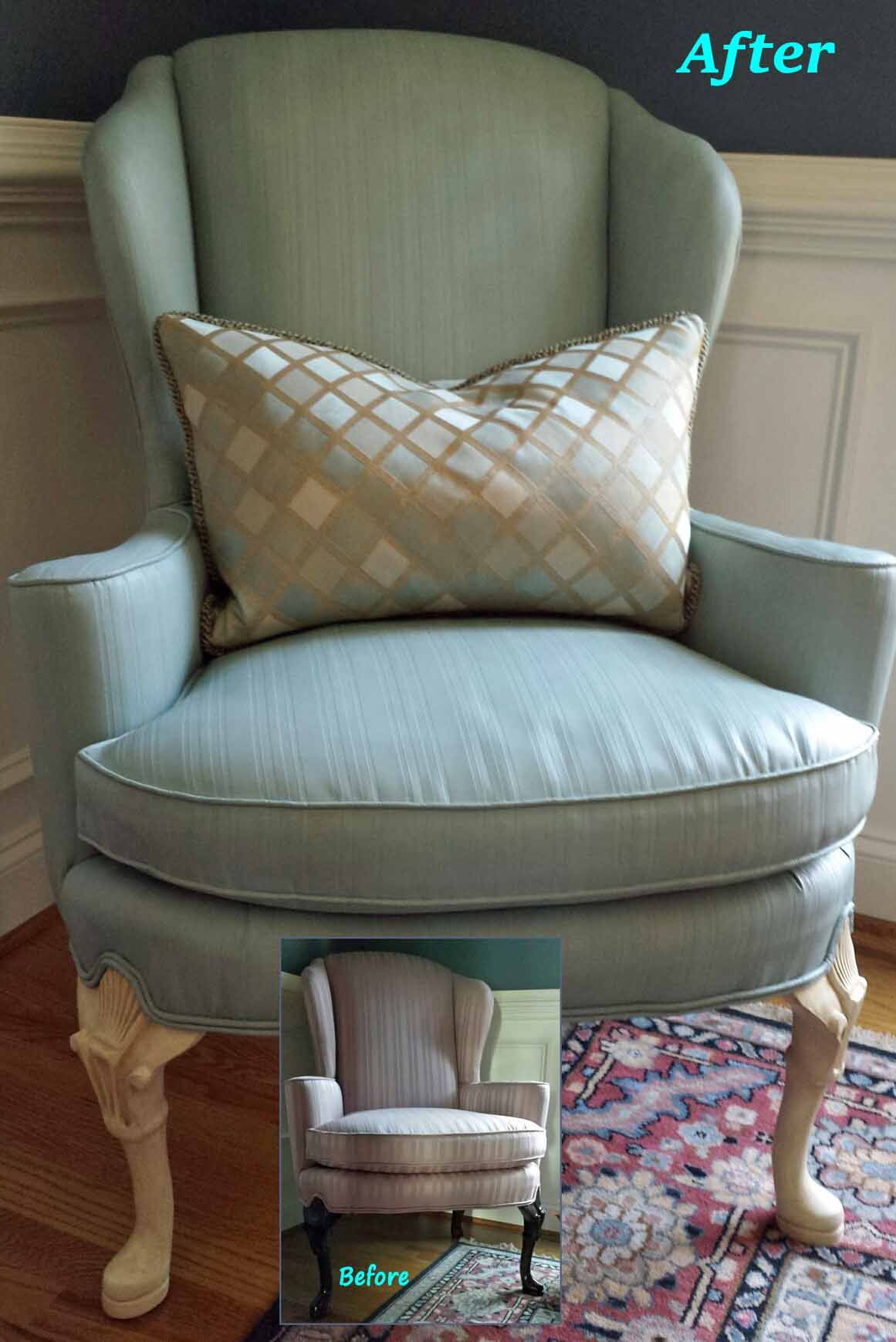 Reupholster Egg Chair Wing Chair Upholstery Painted With Annie Sloan S Chalk Paint In