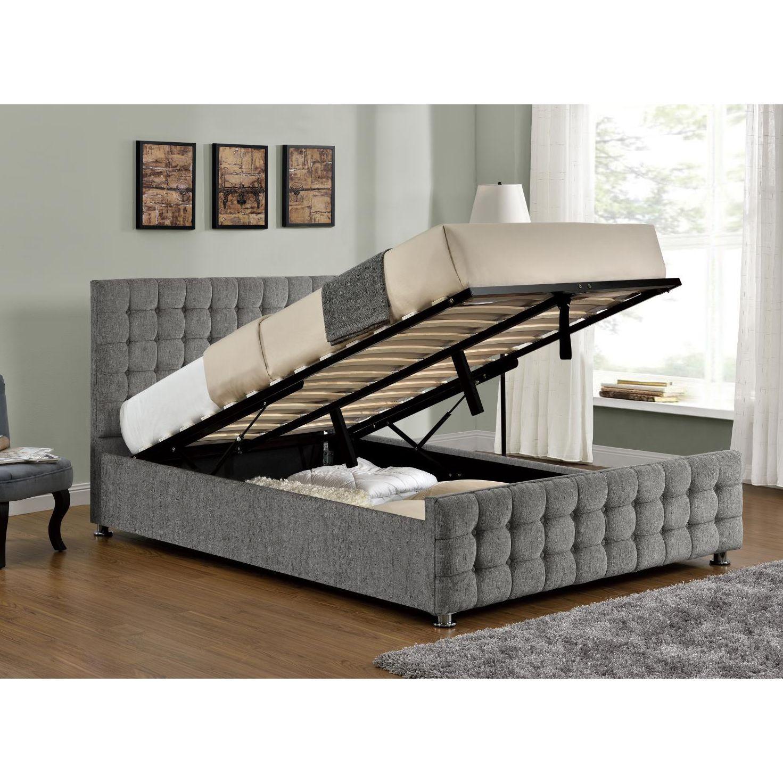 Baratheon Silver Chenille Ottoman Bed Double | Ottoman bed, Ottomans ...