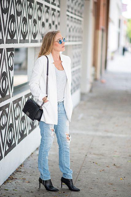 wardrobe staples: stripes, tailored blazer, boyfriend jeans