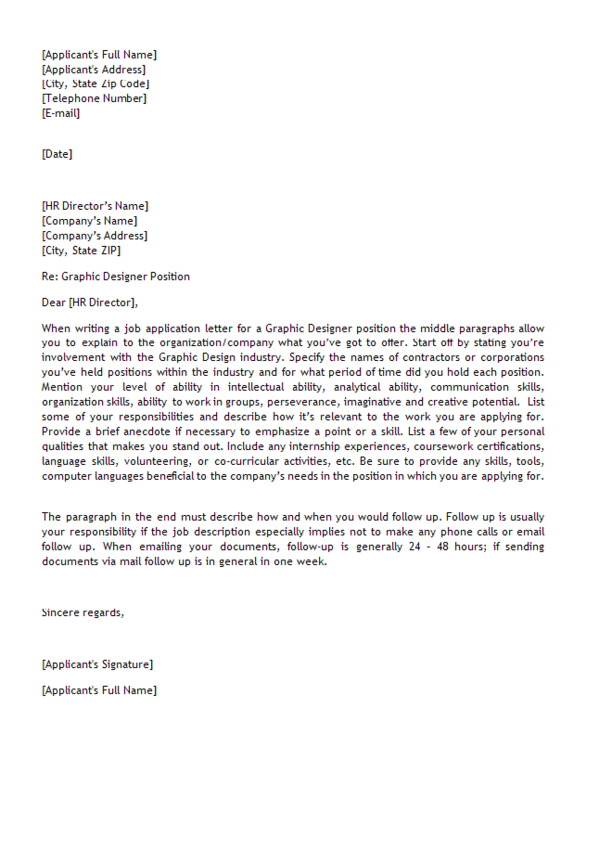 letter sample for graphic designer position job application letter
